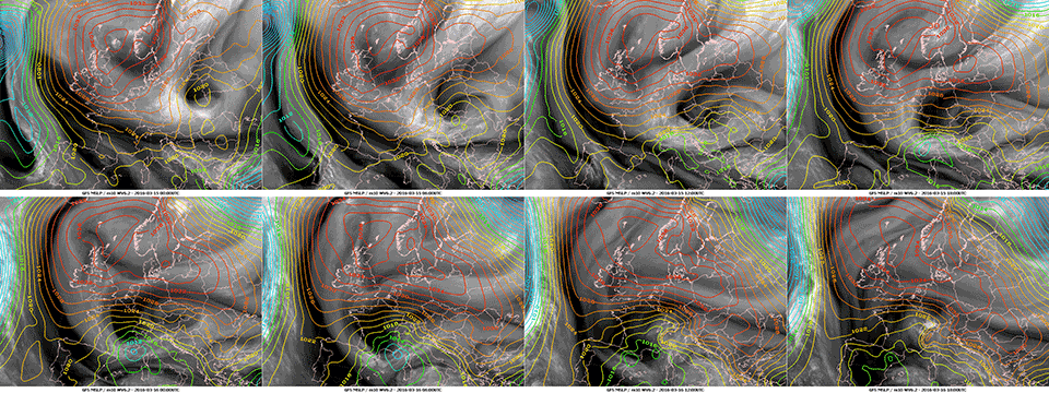 Composite of WV6.2 imagery from Meteosat-10 with MSLP analyses overlaid, 15 March 00:00 UTC–16 March 18:00 UTC.