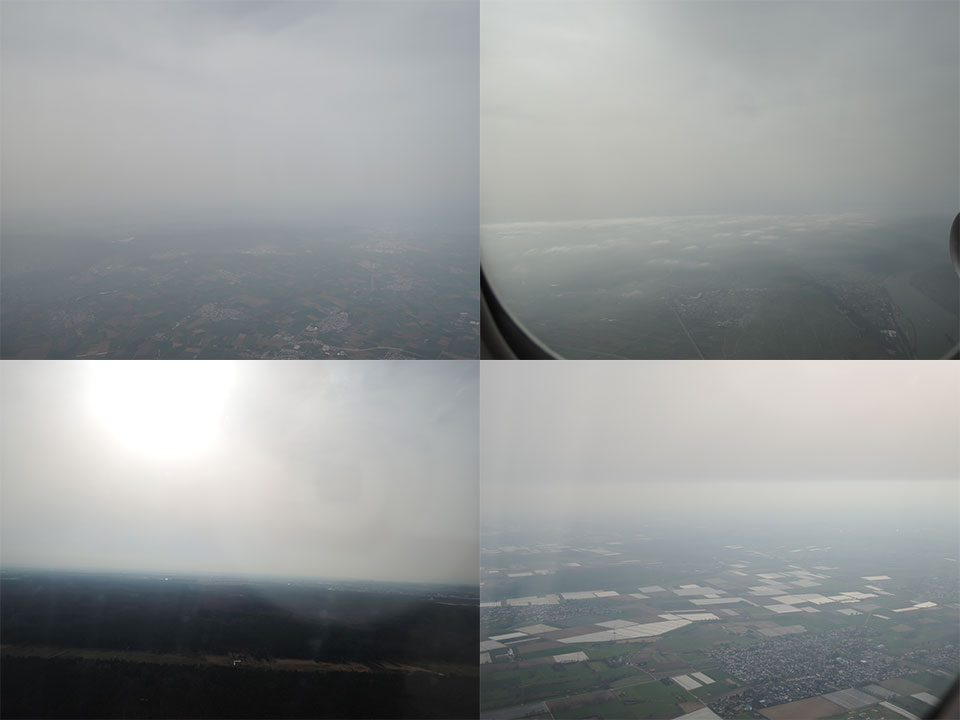 Dusty skies seen by pilot Klaus Sievers on his flights to Frankfurt (top) and Munich (bottom).