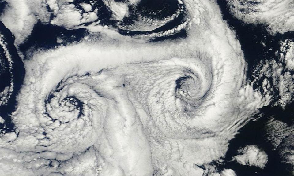 Close up of a Von Karman Vortex downwind of Canary Islands on 2 June 2015