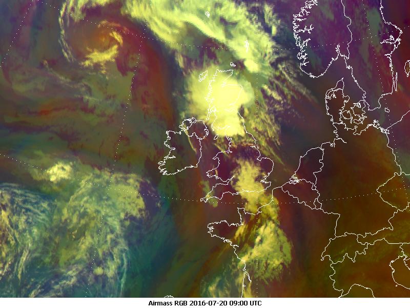 Meteosat-10 Airmass RGB, 20 July 09:00 UTC
