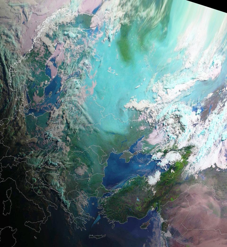 Meteosat-10 Natural Colour RGB, 25 July 04:00 UTC