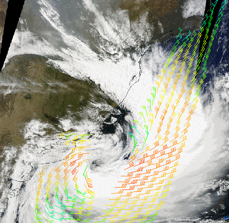 MODIS True Color RGB overlaid with Metop-A ASCAT winds, 13 Sept 12:00 UTC, shows the concordance with the location of the low pressure system.