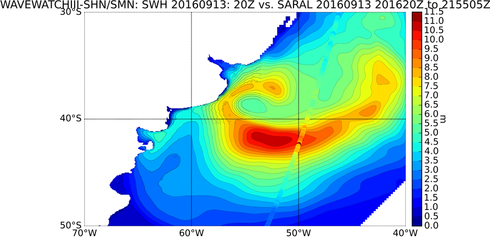 The altimeter (SARAL) data from 13 Sept 20:00 UTC, shows a correspondence with the model  WIII-SHN/SMN, recording wave peaks above 11.5 m