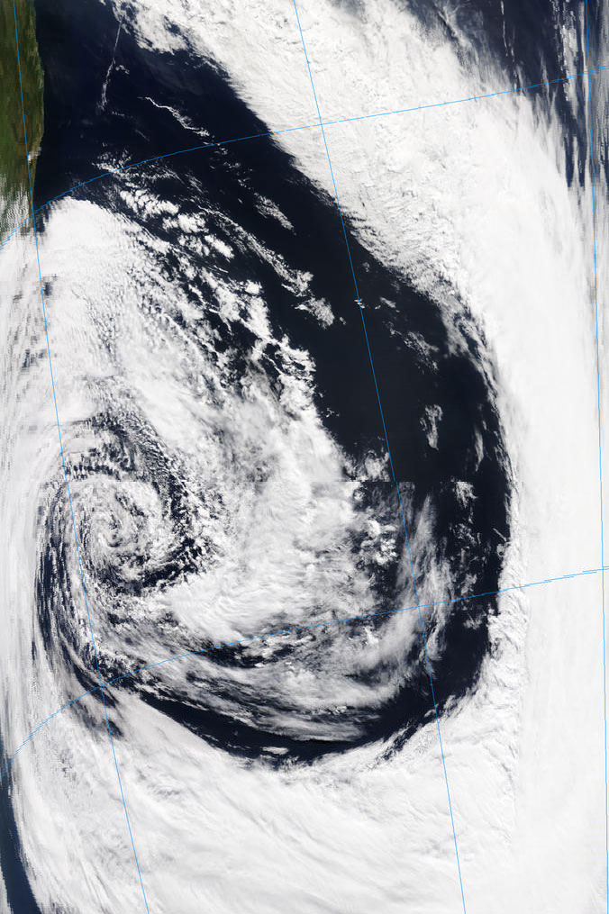 Terra, MODIS True color RGB, 14 Sept 12:55 UTC. The centre of the cyclone is located at approx 37S 48W.