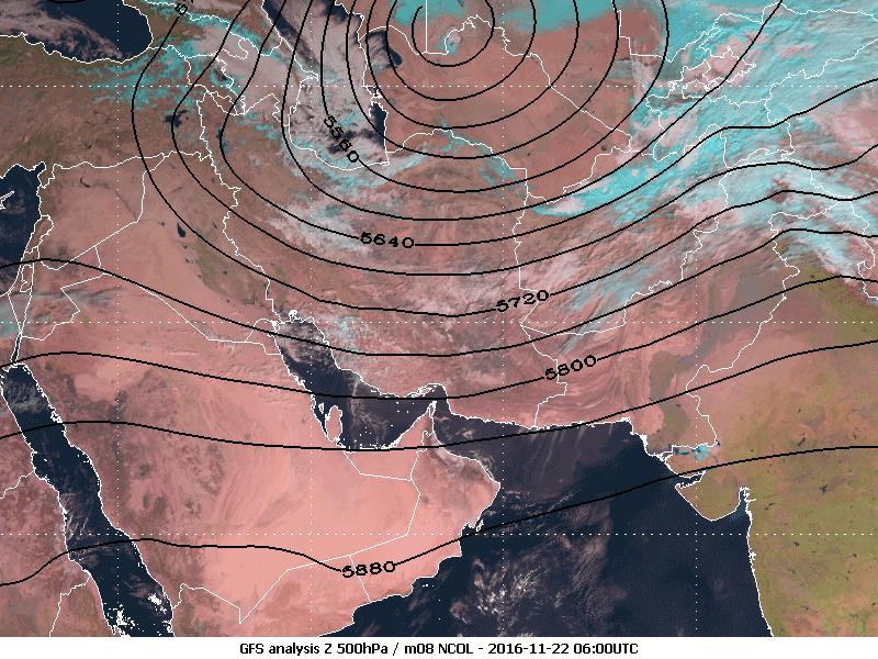 Met-8 Dust RGB with GFS Z analysis 500hPa overlay, 22 November, 06:00 UTC