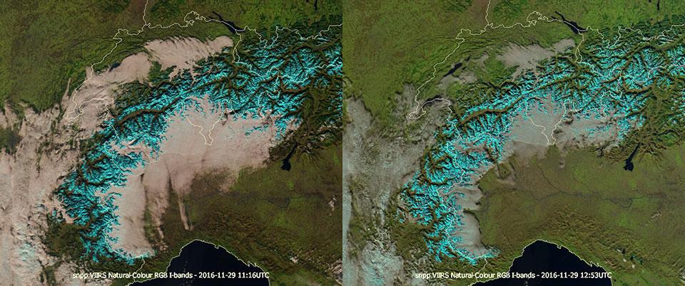 Suomi-NPP VIIRS Natural Colour RGBs, 11:16 UTC and 12:53 UTC.