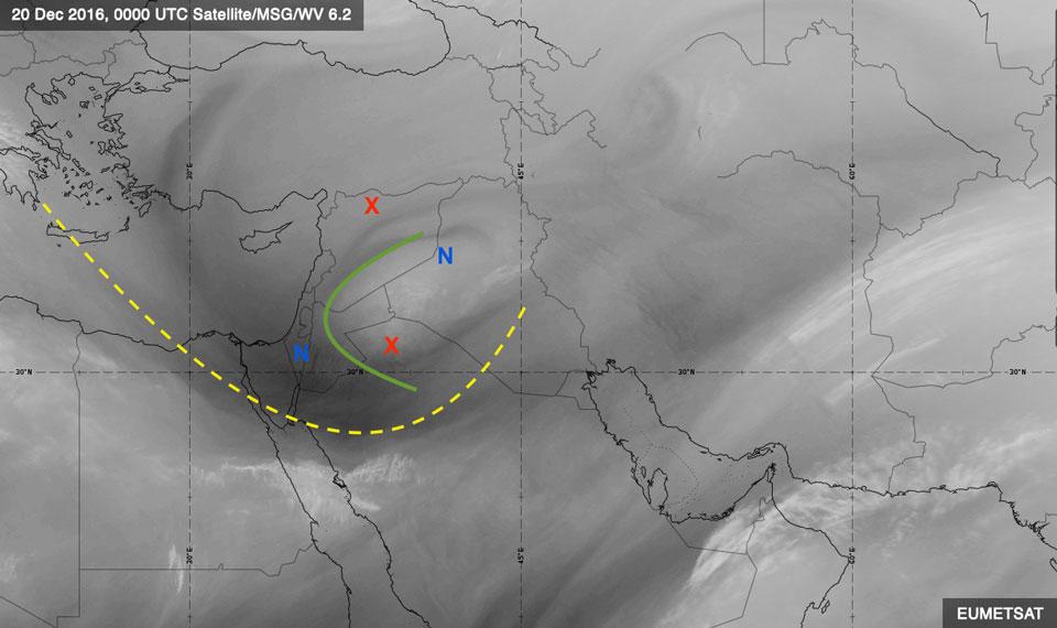 Meteosat-10 Water Vapour, 20 December 00:00 UTC