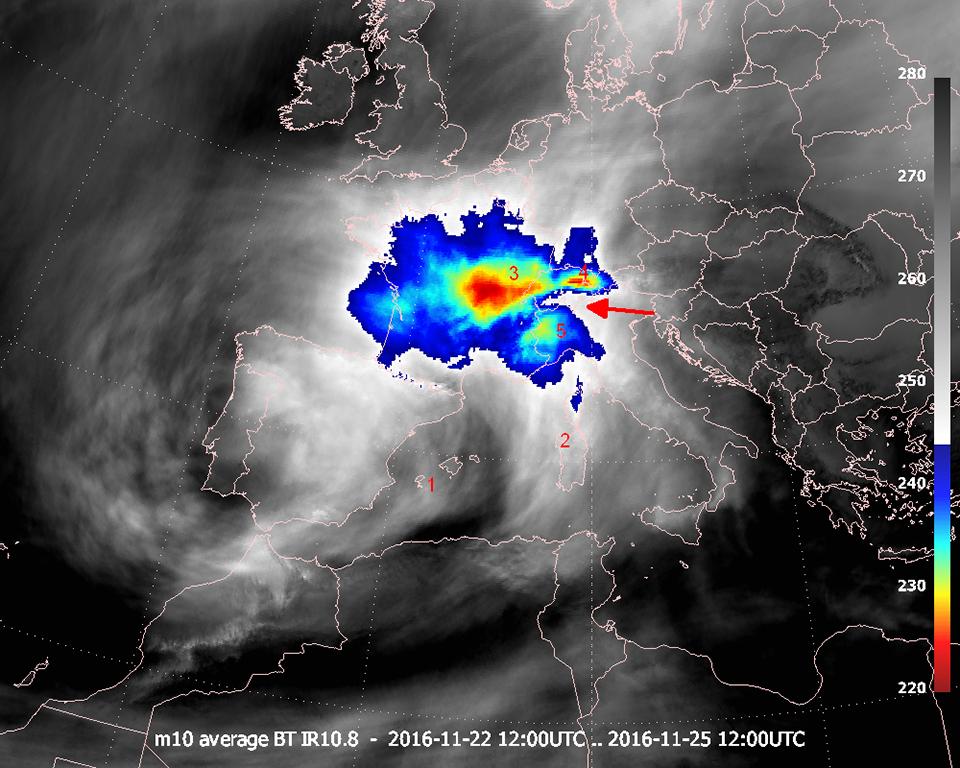 Meteosat-10 average IR10.8, 22 Nov 12:00 UTC–25 Nov 12:00 UTC