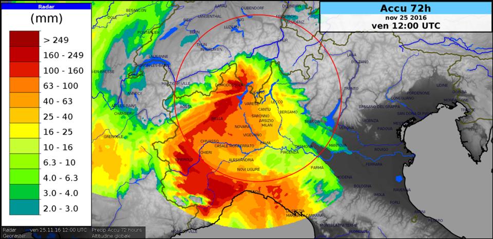 rainfall accumulation map of the radar Monte Lema. Credit: MeteoSwiss.