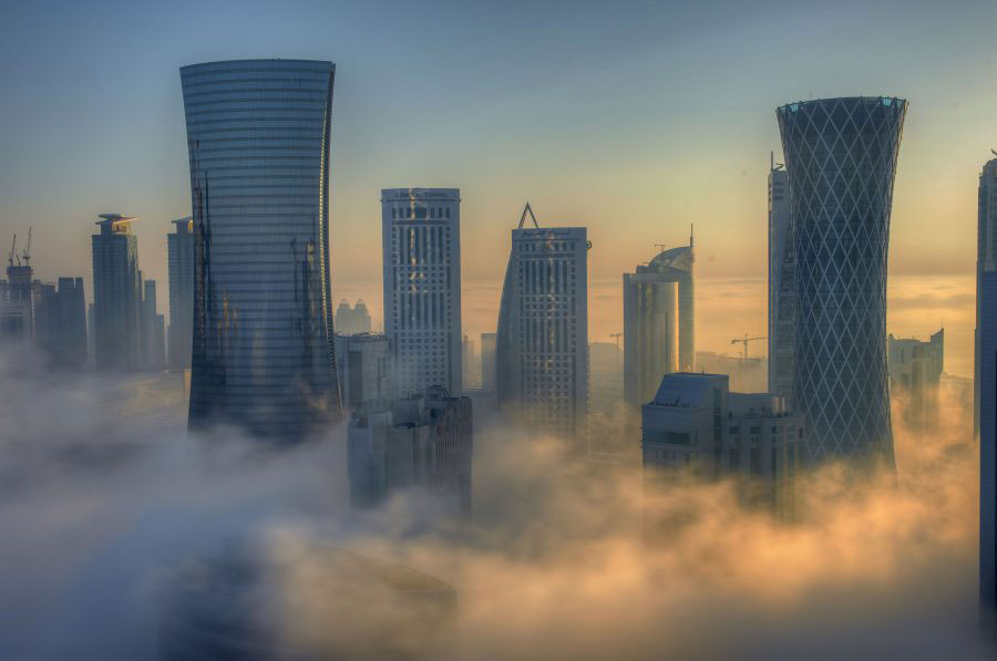 Fog hangs over the city of Doha, Qatar