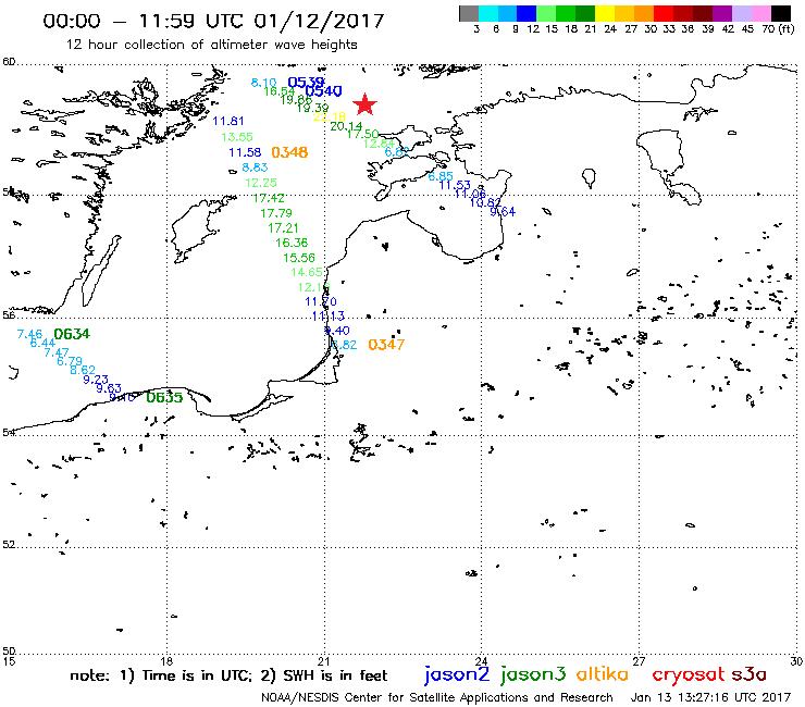 Jason-2, 3 and other satellites, 12 January, 00:00–12:00 UTC