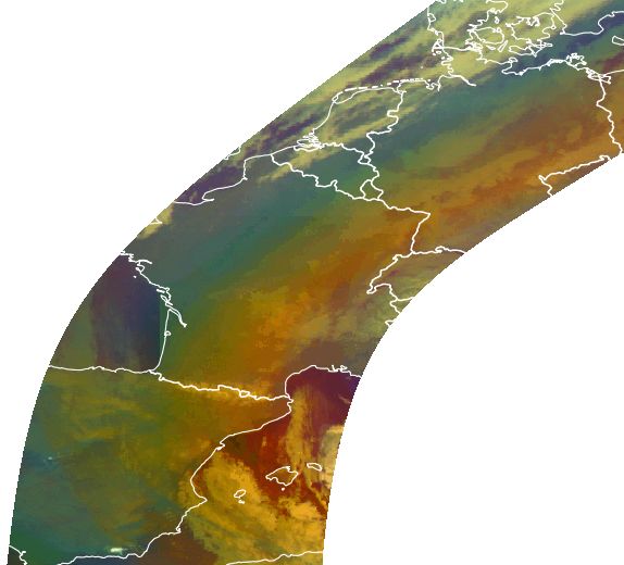 Swath from Meteosat-10 Airmass RGB showing the rainbow pattern.