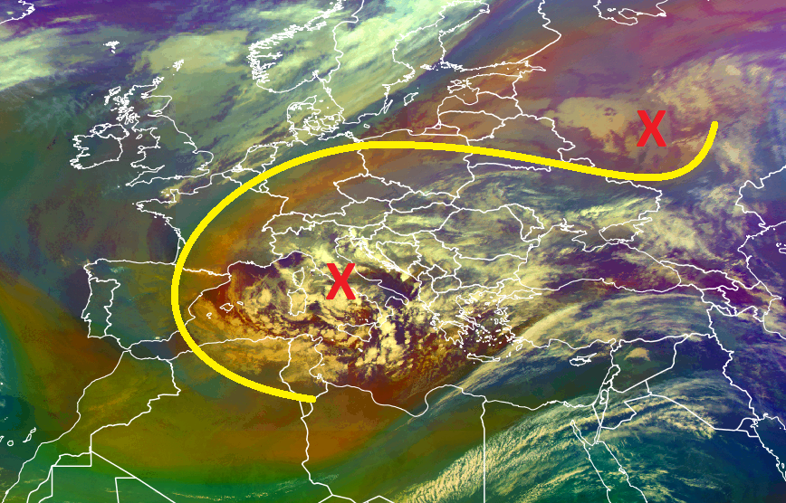 Meteosat-10 Airmass RGB, 17 Jan 08:00 UTC