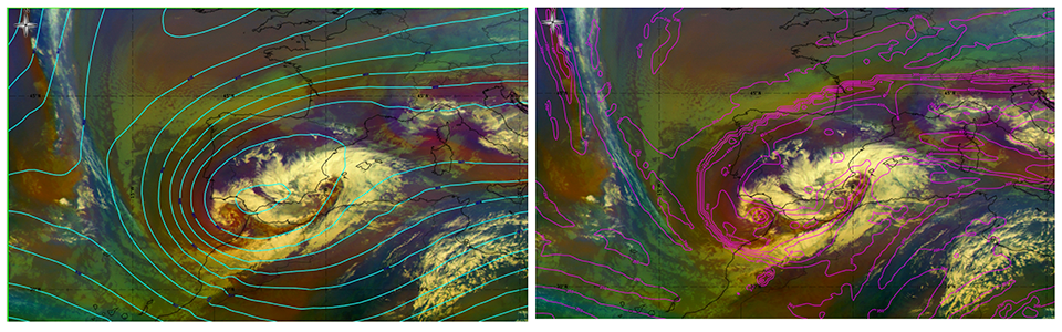 Airmass RGB, 19 Jan 12:00 UTC overlaid with a) 300hPa height field, b) ECMWF Height 1.5PVU (Credit: ePort)