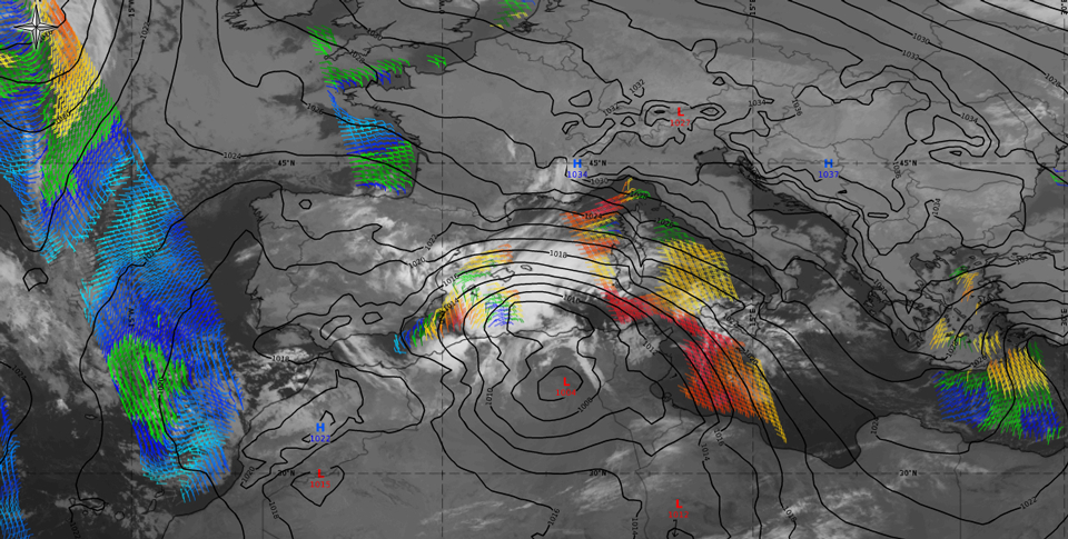 IR 10.6 overlaid with ASCAT surface wind and ECMWF MSLP (Credit: ePort)