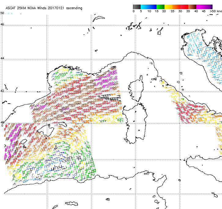 ASCAT sea wind on 21 Jan 21:00 UTC