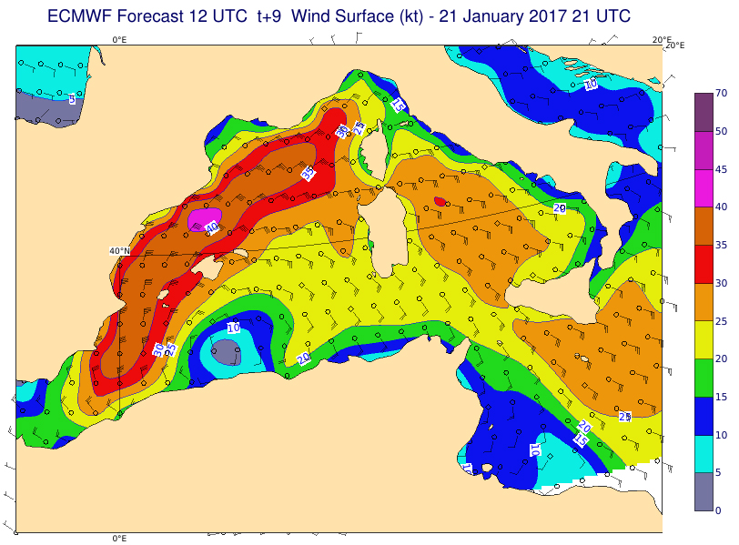 ECMWF 9-hour wind speed surface (kt) forecast 21 Jan 21:00 UTC (Reanalysis ERA-Interim )