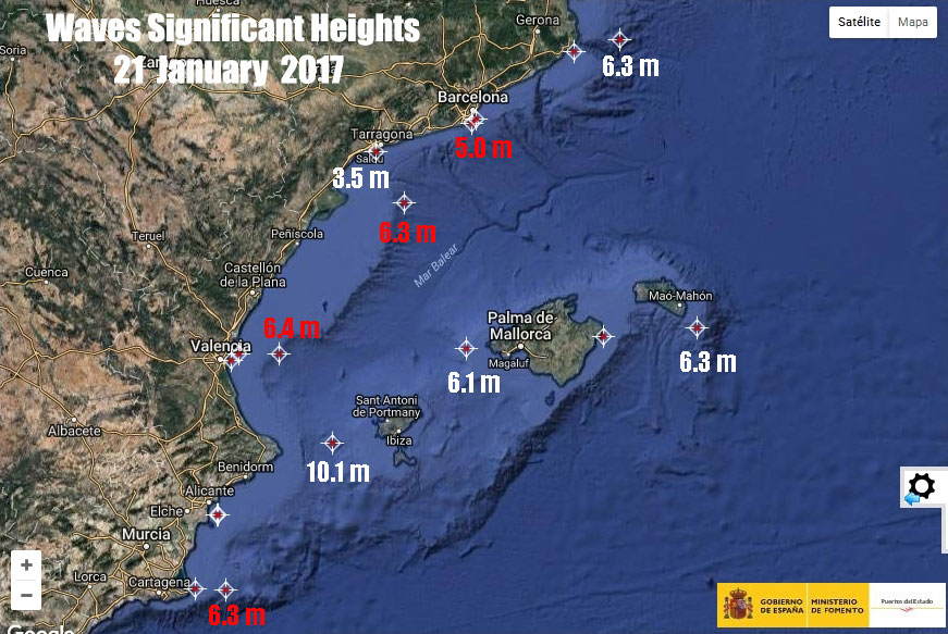 Wave significant heights 21 Jan. Historical records in red.