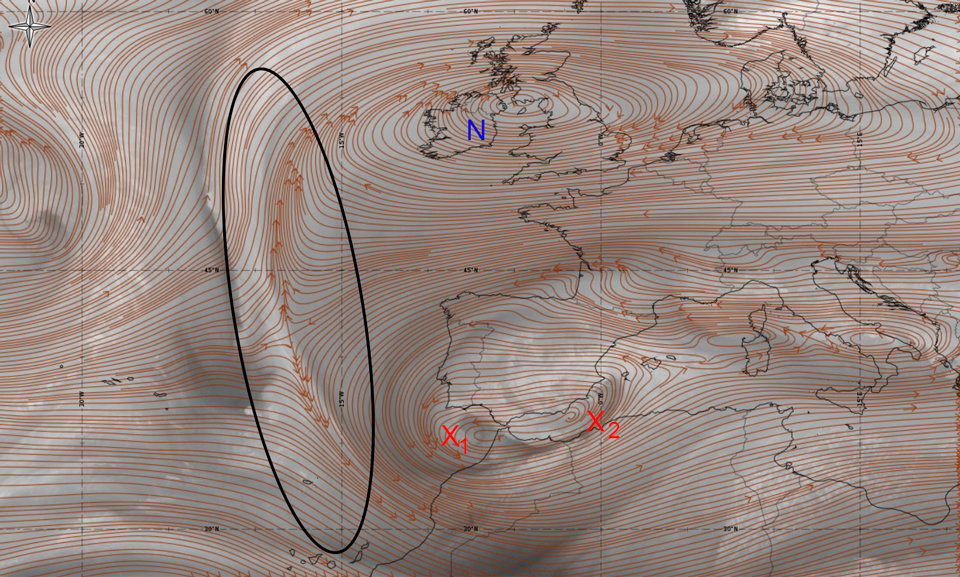 WV6.2 image, 19 Jan 06:00 UTC, overlaid with  ECMWF streamlines 500 hPa. The black ellipse mark the deformation zone. X1 and X2 mark two negative vorticity centres, and N a positive vorticity centre. (Credit: ePort)