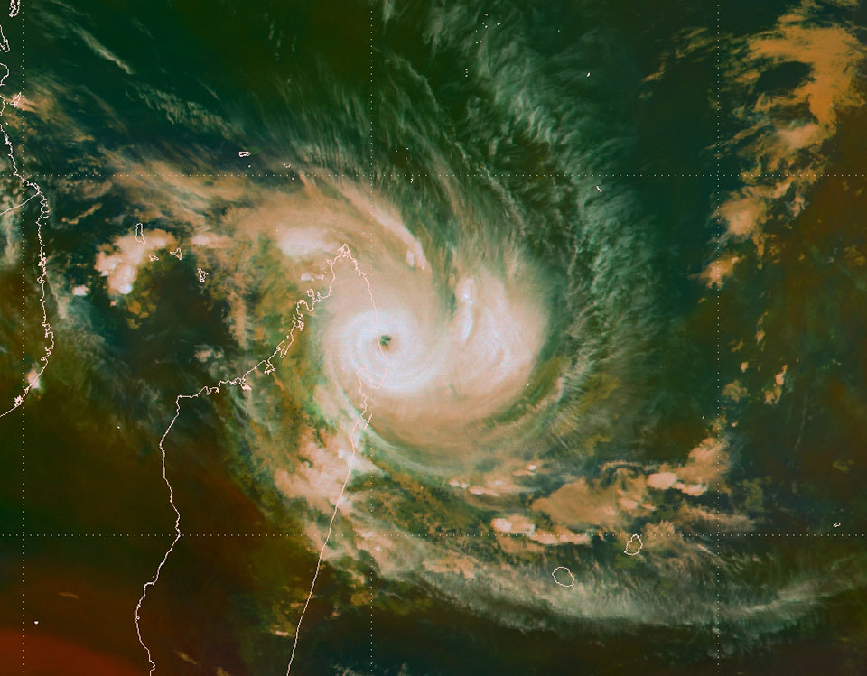 Tropical Cyclone Enawo close to making landfall in Madagascar, Meteosat-10 Airmass RGG with tropical tuning, 7 March 07:00 UTC.