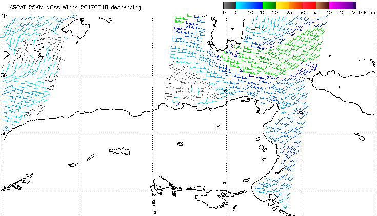 Meteosat-10 ASCAT 25 km winds, 18 March 09:30 UTC