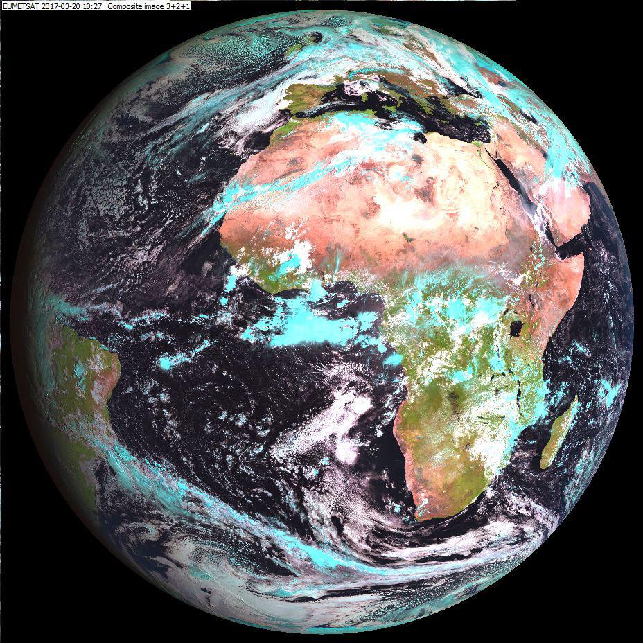 Meteosat-10 Natural Colour RGB, 20 March 10:27 UTC
