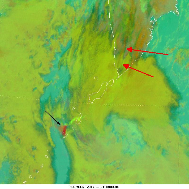 Himawari-8 Volcanic Ash, 31 March 15:00 UTC
