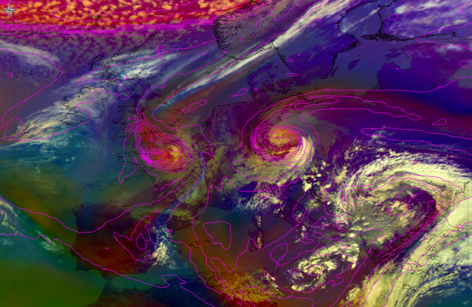 Meteosat-10 Airmass RGB, 4 April 12:00 UTC. (Credit: EUMeTrain)