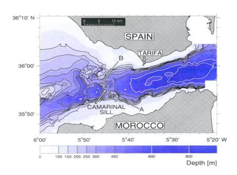 Bottom topographical map of the Strait of Gibraltar, with the shallowest point visible as the Camarinal Sill. Credit: Universität Hamburg Institut für Meereskunde
