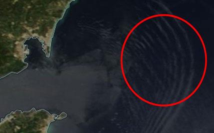 Zoomed NASA MODIS Terra image of internal waves