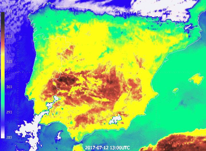 Enhanced Meteosat-10 infrared channel 10.8 µm, 12 July 13:00 UTC