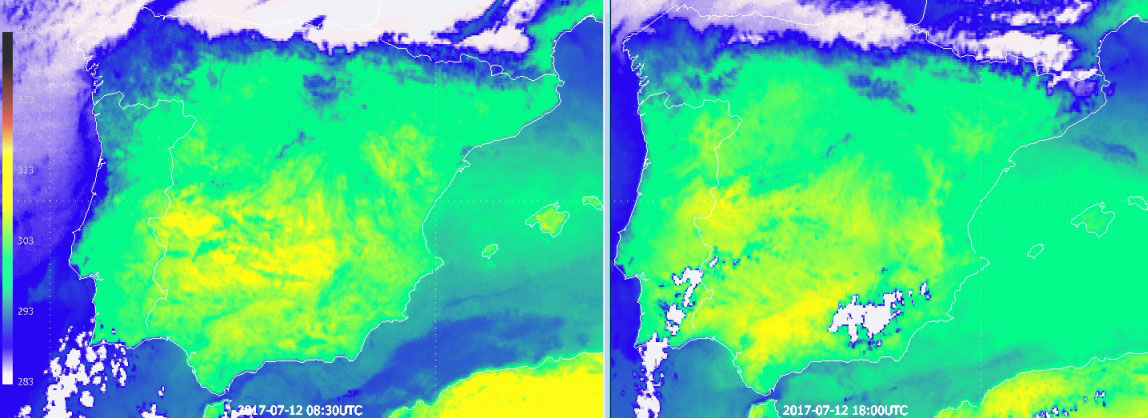 Heating and cooling patterns seen on thermal imagery of Meteosat-10 at 08:30 (left) and 18:00 UTC. Dry low areas take typically longer to cool than mountain or wet areas.  The cooling inertia is a function of soil diffusivity, related to moisture and emissivity.