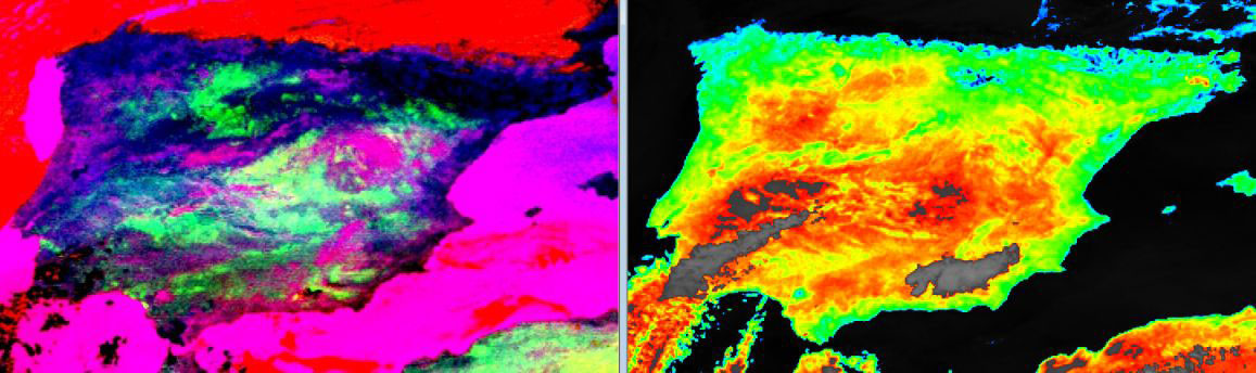 On the right, a measure of 10.8µm variability in the course of the day, as an inverse measure of thermal inertia (from red to blue). On the left, a colour composite of differences in the infrared (composite of 3.9, 8.7, 10.8, 12.0 µm), as a measure of emissivity.