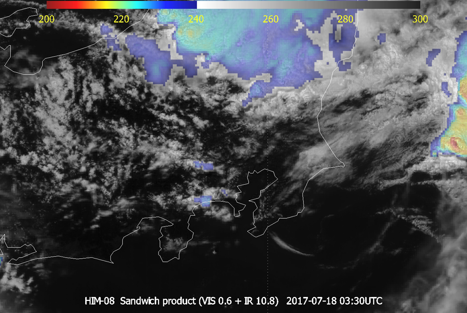 Himawari-8 Sandwich Products (VIS and IR) 18 July 03:30 UTC