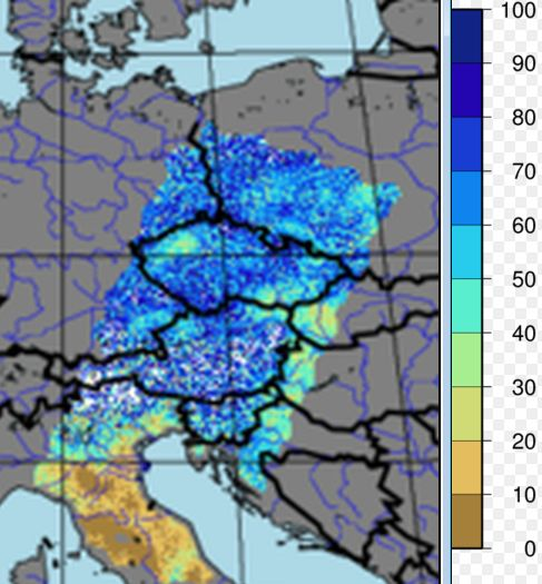 1 km soil moisture (scale in %) for 31 July 2017 at 09:30 UTC. Northern Italy soil is much drier than in Austria and higher north.