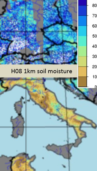 Soil moisture mosaic as retrieved from Metop-B ASCAT for 1st and 2nd August 2017, evening northbound Metop passes. The relative moisture values indicate a very low water reserve in the soil, compared with a humid central Europe.