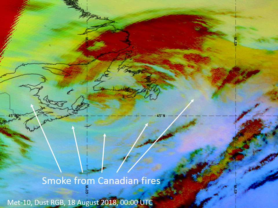 Meteosat-10 Dust RGB, 18 August 00:00 UTC