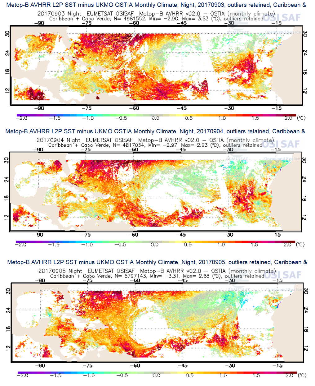 Metop-B AVHRR Sea Surface Temperature (SST) anomaly versus climatology. Source:
