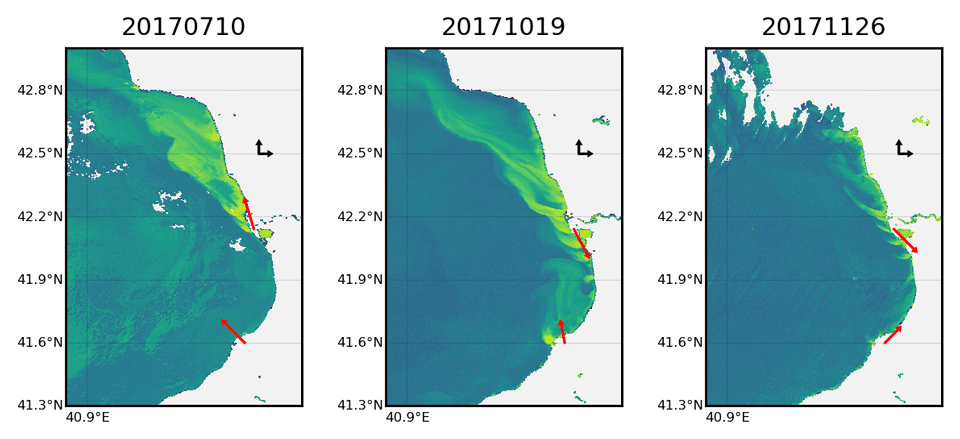 Spatial distribution of the chlorophyll concentration for 10 July, 19 October and 26 November 2017.