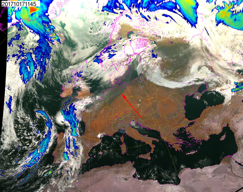 Met-10 Natural Colour RGB and infrared, 17 October, 11:45 UTC
