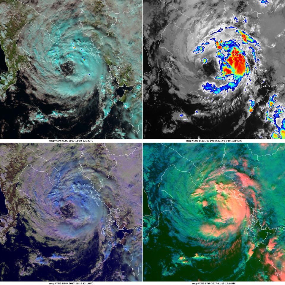Suomi-NPP VIIRS Natural Color RGB, IR10.763, Cloud Type RGB, Cloud Phase RGB, 18 Nov, 12:14 UTC