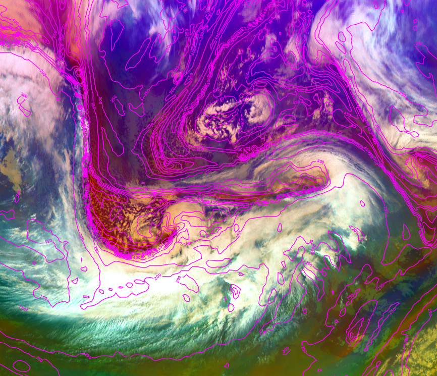 Met-10 Airmass RGB with height of the potential vorticity (PV=1.5) layer, 10 Dec 18:00 UTC