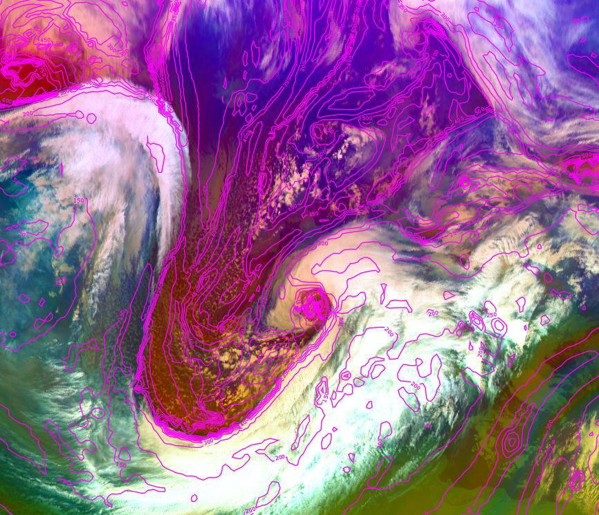 Met-10 Airmass RGB with height of the potential vorticity (PV=1.5) layer, 11 Dec 06:00 UTC