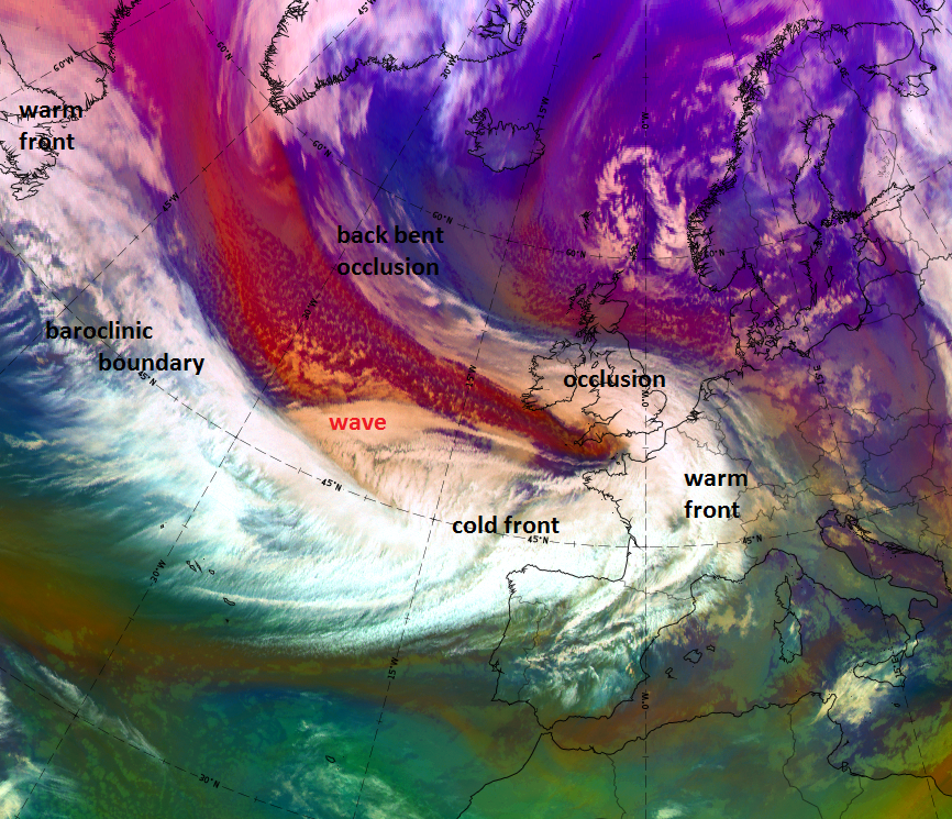 Satrep analysis of the cloud features seen in the Airmass RGB, 10 December 2017, 06:00 UTC