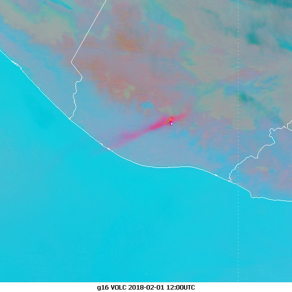 GOES-16 Ash RGB from 12:00 UTC on 1 Feb, showing the plume a few hours after the main eruption