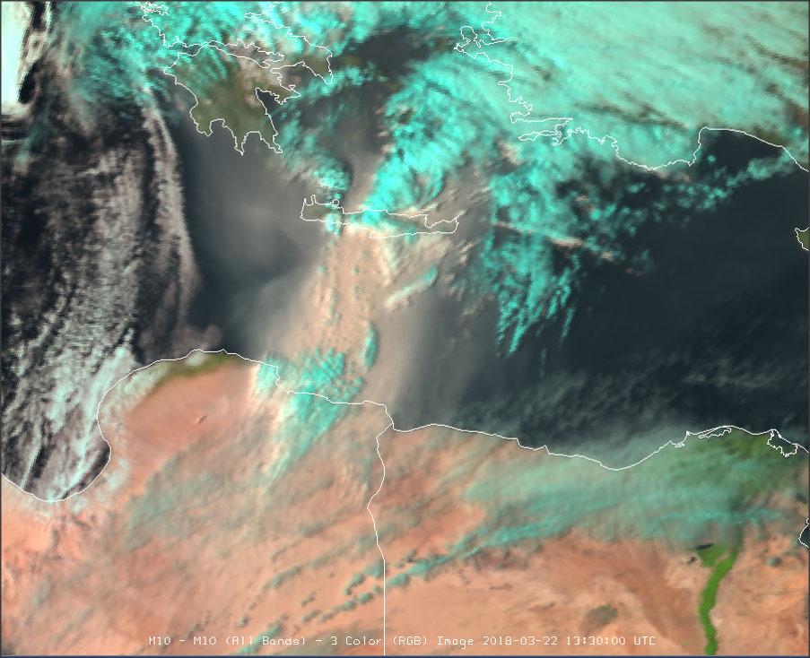 Meteosat-10 Natural Colour RGB, 22 March 13:30 UTC