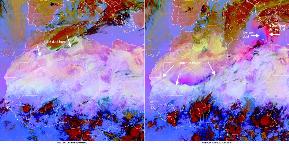 Meteosat-11 Dust RGB, 21 March 00:00 UTC (left panel) and 22 March 00:00 UTC (right panel)