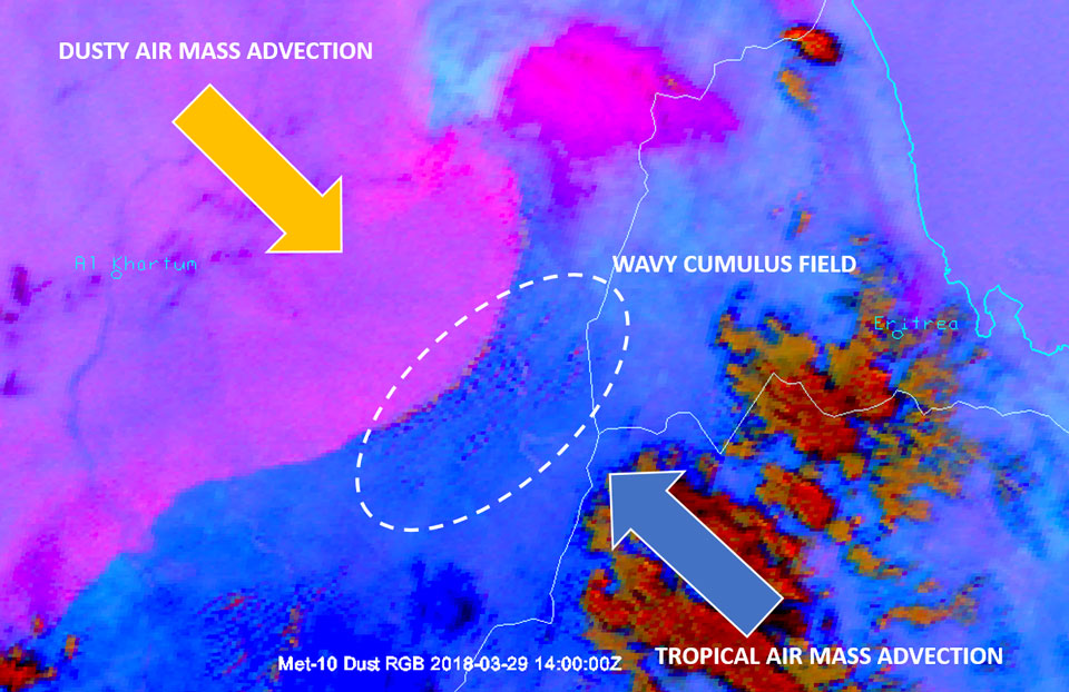 Cumulus field generated by instability between tropical and airmasses - Met-10 Dust RGB, 29 March 14:00 UTC