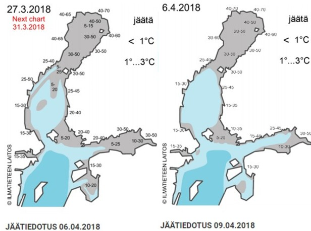 FMI Ice charts of 27 March (left) and 6 April (right). The blue colours stand for open water, the grey colours ice. The dates in maps are boundaries for evolution.