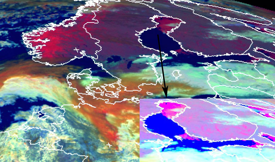 Meteosat-11, Snow RGB, 31 March, 12:00 UTC, with zoomed in image inset, bottom right
